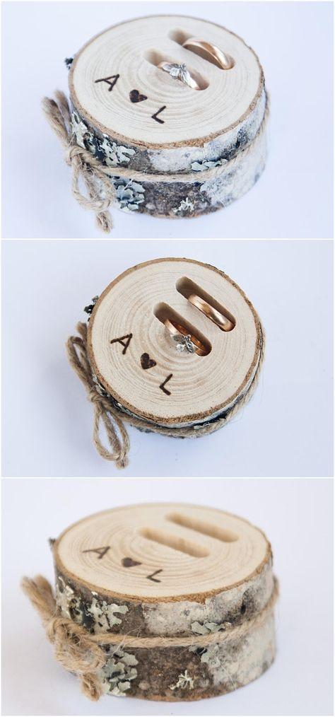 Rustic ring bearer pillow, wedding wood slice, rustic ring box, birch wedding de...