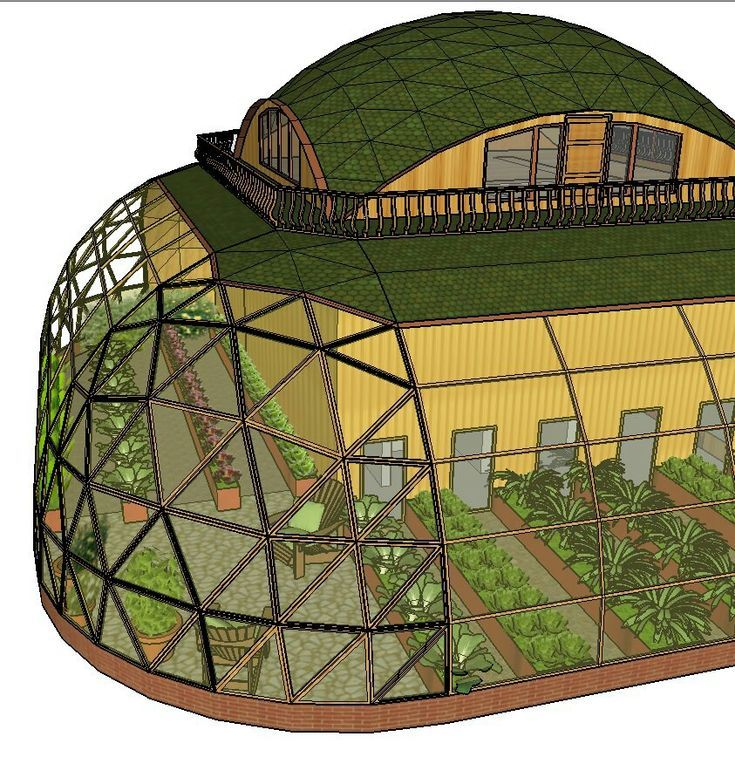 Semi geodesic dome house with green roof and wrap around porch