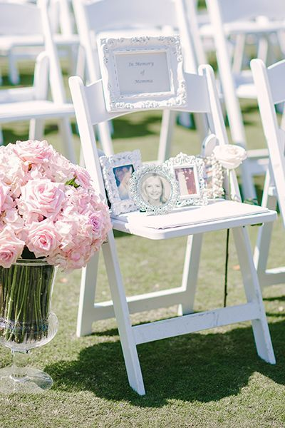 """The bride placed an """"In Memoriam"""" chair in the front row of the ceremony wit..."""