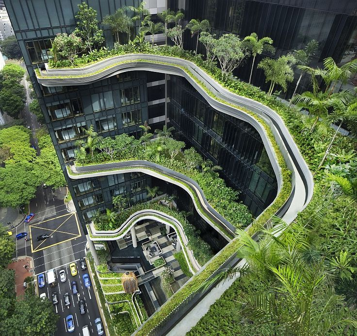 This structure has lots of trees which help take out carbon dioxide/pollution an...