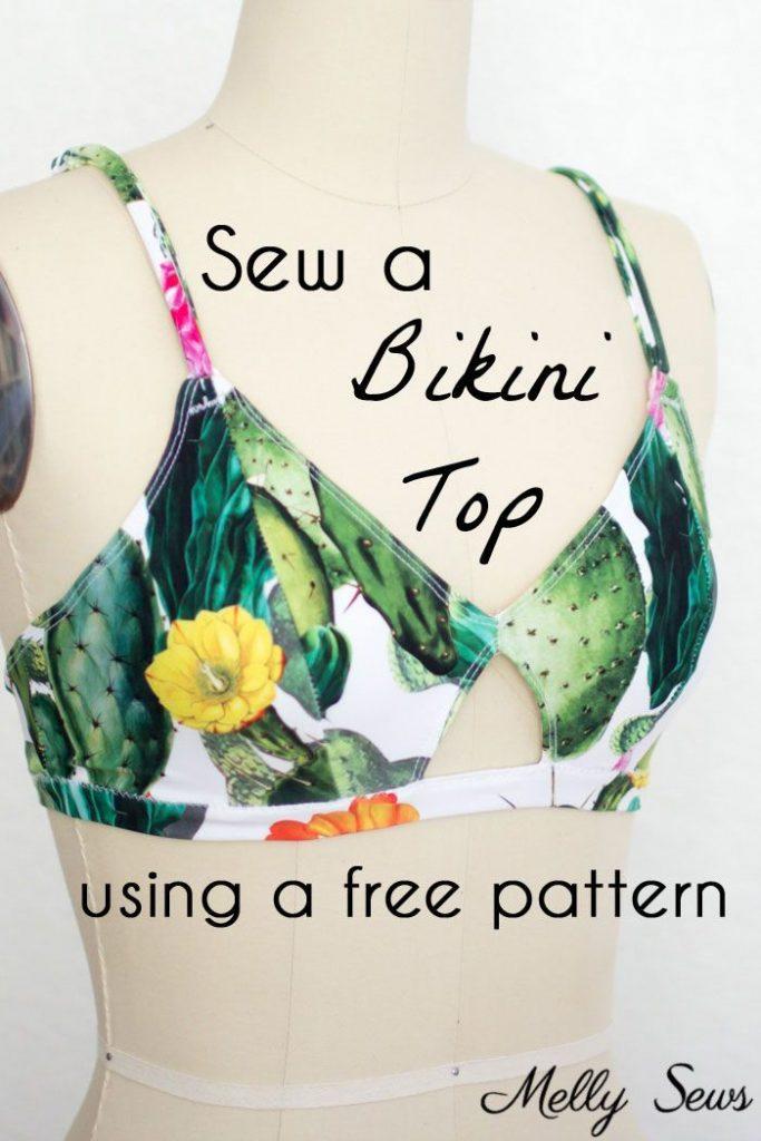 Use a free bra pattern to sew a bikini top - DIY bikini top you can make yoursel...