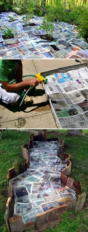 Use newspaper and water to stop weeds from growing in your garden bed #gardening...
