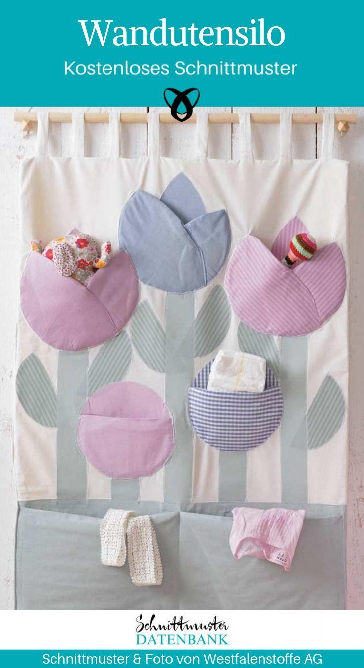 Wandutensilo zum Aufhängen Tulpen Babys nähen Schnittmuster kostenlos gratis A...