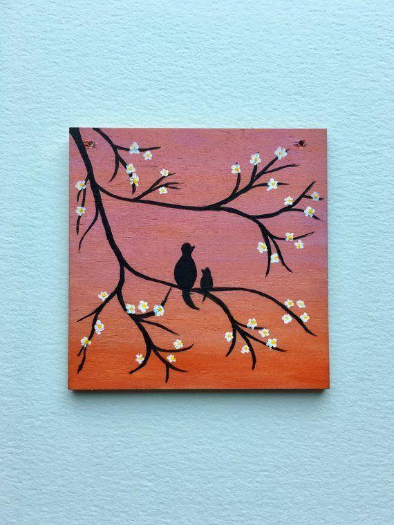 Mama & Baby Tiny Wood Painting   Acrylic Wood Wall Art   Pink Orange Ombre W...