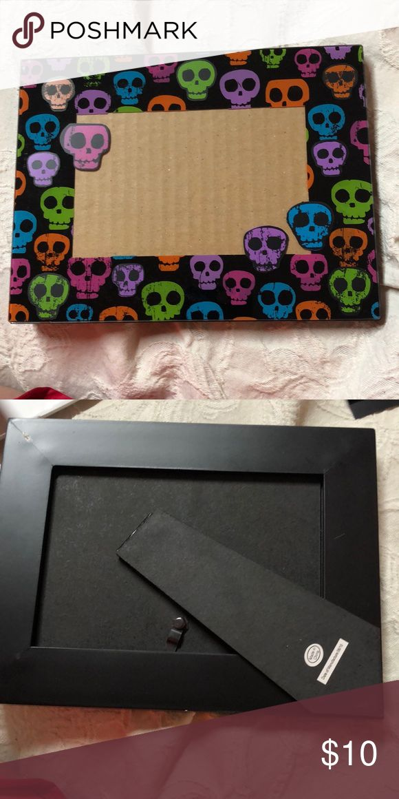 Colorful skull 4x6 picture frame Horizontal/ landscape photo Accents Picture Fra...