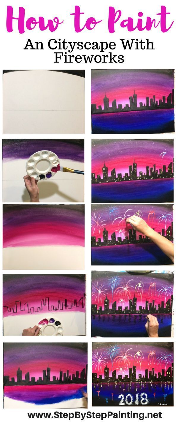 How To Paint Fireworks City Scene - Step By Step Painting For Beginners - acryli...