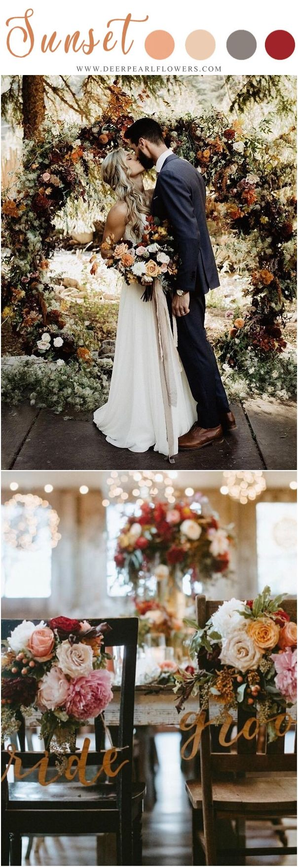 sunset orange fall wedding color ideas - fall wedding decor ideas #weddings #wed...