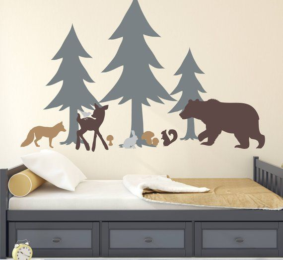 Large Forest Forest Wall Mural Bear Sticker Forest Animal Bear Vinyl Wall Decal