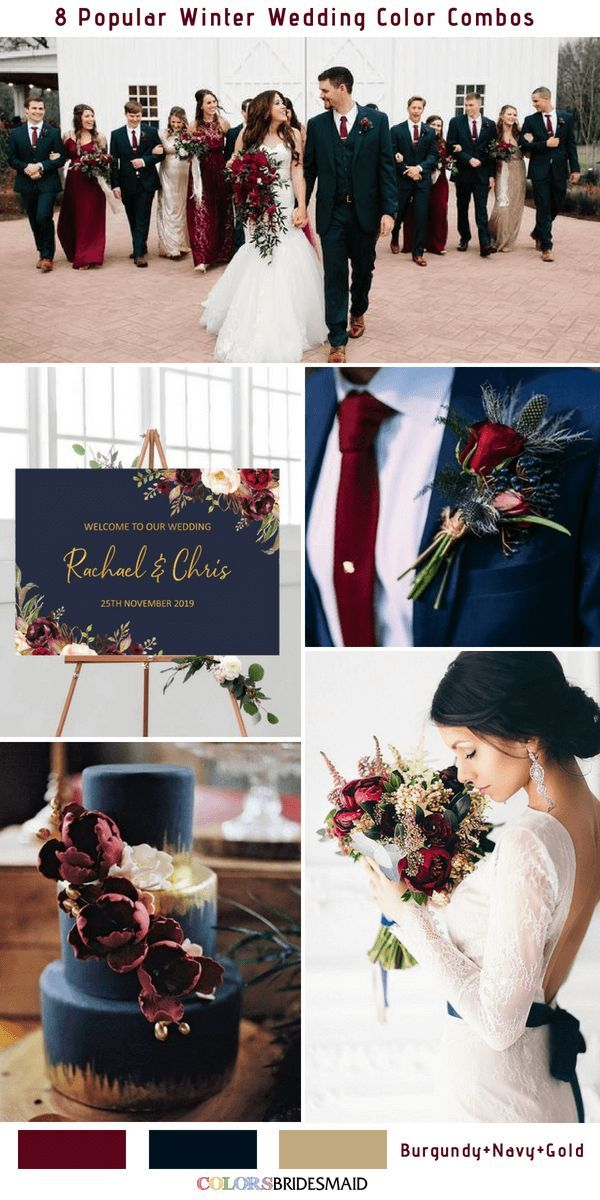 8 Winter Wedding Color Combos for 2018 - No.2 Burgundy, Navy and Gold #colsbm #w...
