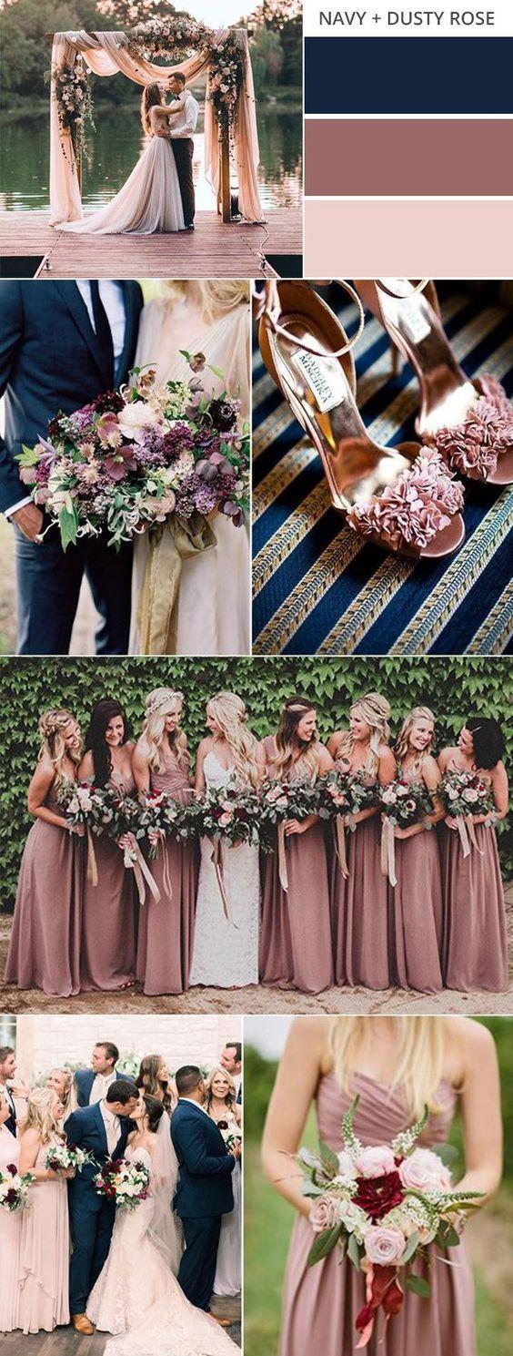 navy blue and dusty rose wedding color ideas for fall #weddingcolors #fallweddin...
