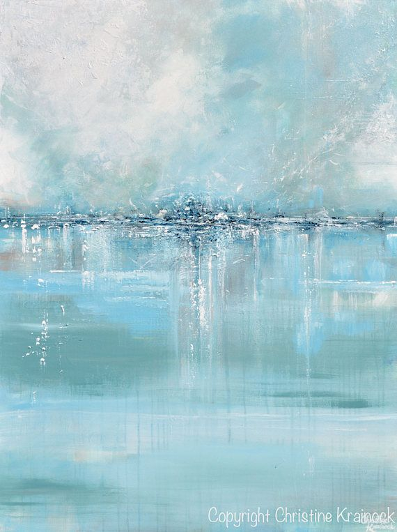 Seaglass Giclee Print / Canvas Print of Original Art Blue White Sea Foam Green G...