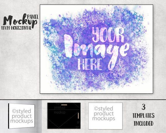 Dye sublimation 11 x 14 horizontal landscape photo panel mockup template | Add y...