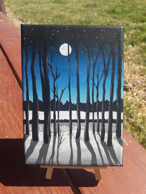 """Moonlit Night Acrylic Painting on Stretched Canvas 5""""x7""""  #5x7 #Acrylic #Canvas ..."""
