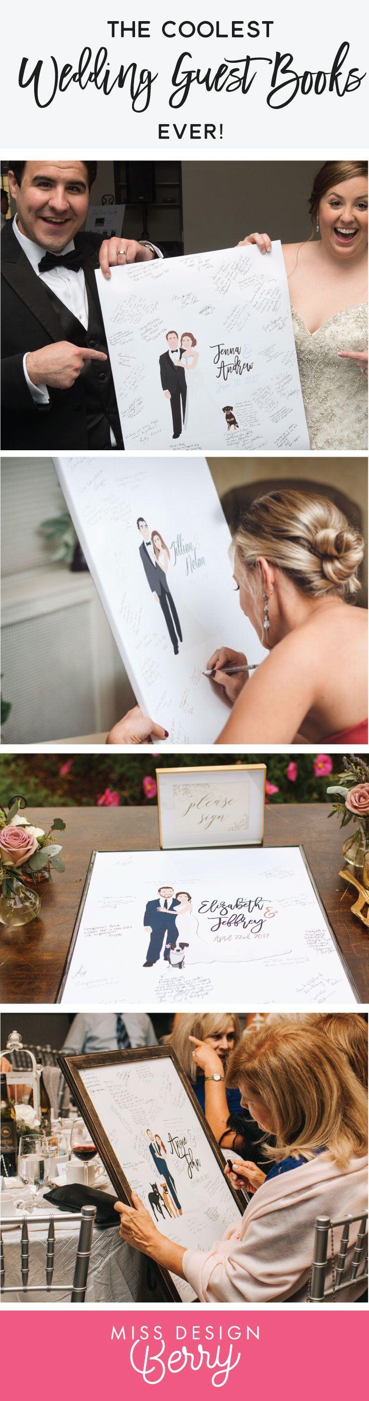 The COOLEST wedding guest book alternatives EVER. Miss Design Berry custom illus...