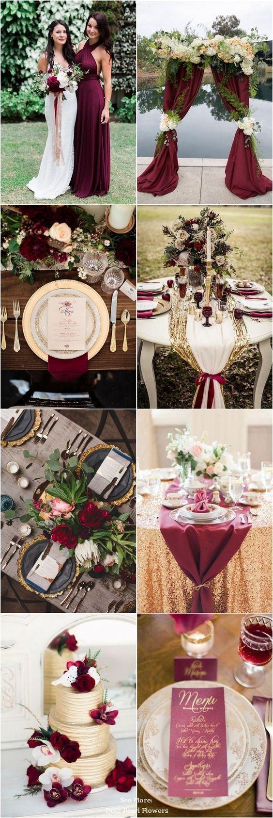 30 Elegant Autumn Burgundy and Gold Wedding Ideas - Wedding Theme - #Burgundy ...