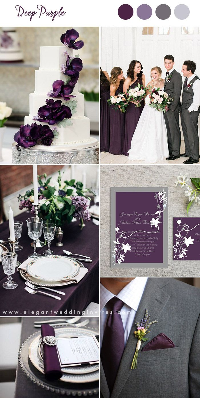 deep purple and gray classic wedding ideas...