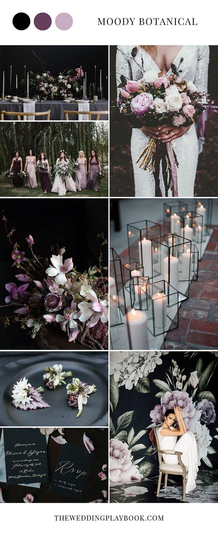 Moody botanical black & white Purple Wedding Inspiration wedding the ...
