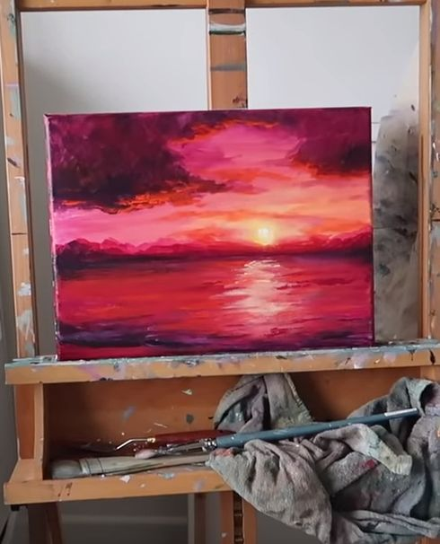 Instructions for acrylic painting at sunset, #acrylmal #instructions #sonnenunt ...