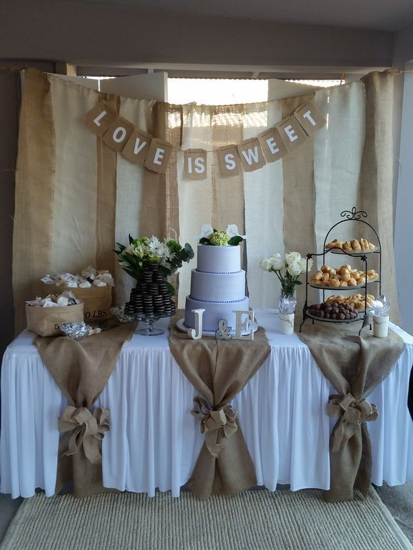 Used (normal wear) Dessert table background with love is sweet Z ...