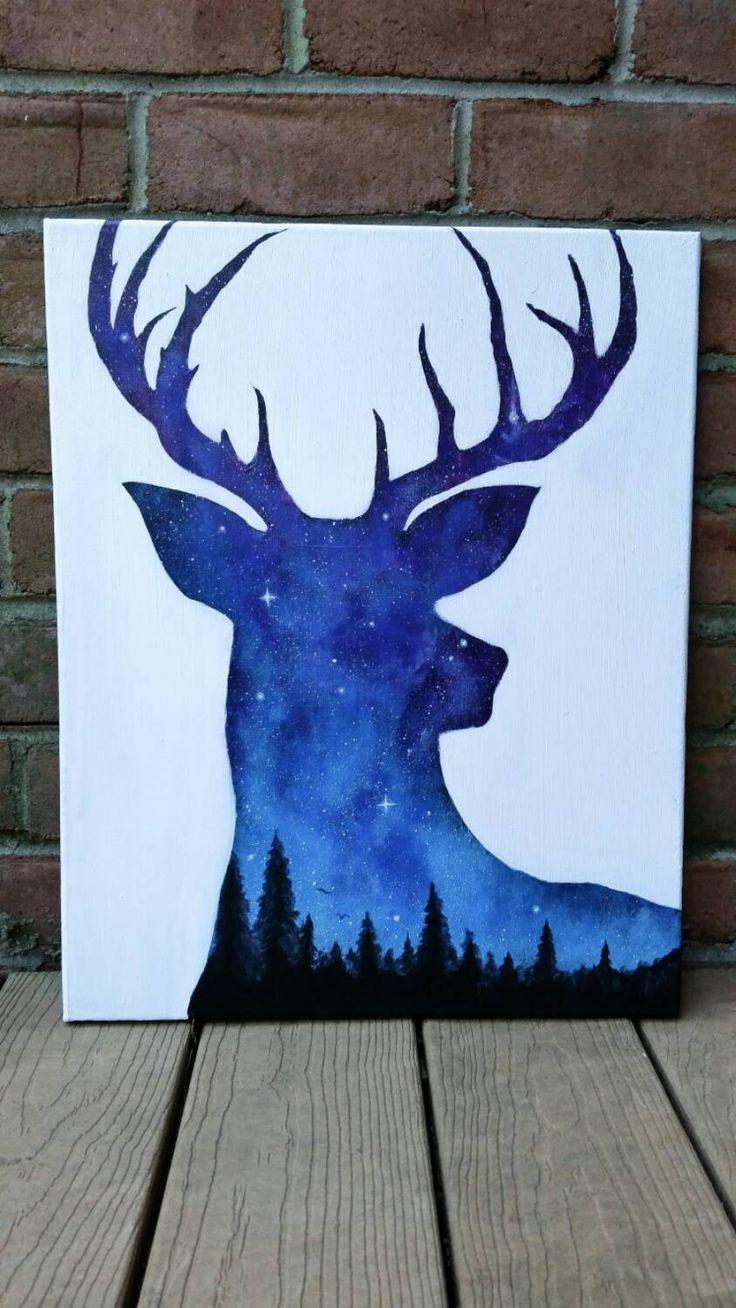 Night Sky Painting Acrylic Painting Deer Animals by TheMindBlossom ...