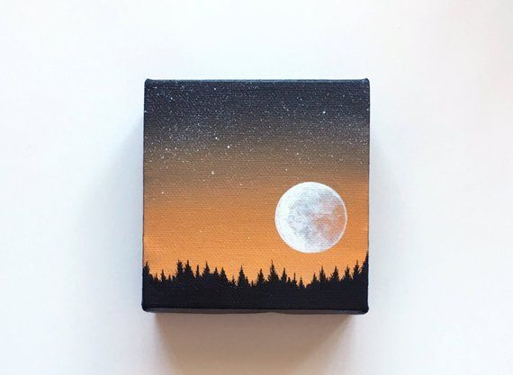 Night sky III | Original acrylic painting | 4 × 4 inches | By Janelle Anakotta ...