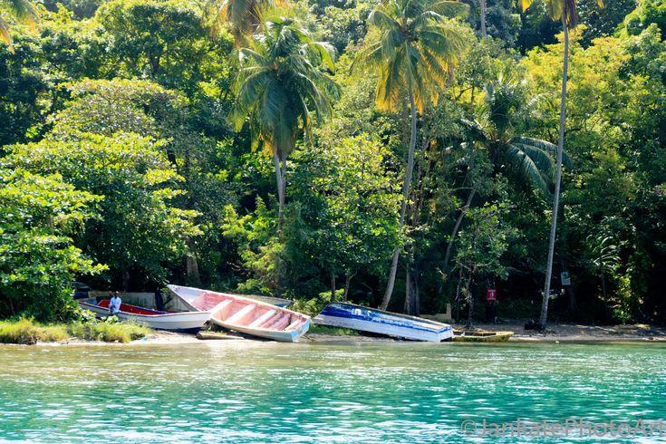 St. Lucia fisherman with boats photo, Caribbean island print, Tropical beach dec...