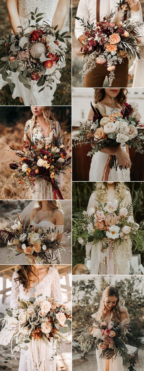 bohemian inspired fall wedding bouquets for 2019...