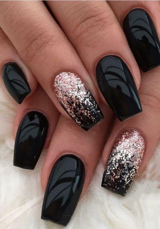 99+ Trending Black Nails Art Manicure Ideas; Black coffin nails; Black Acr ...