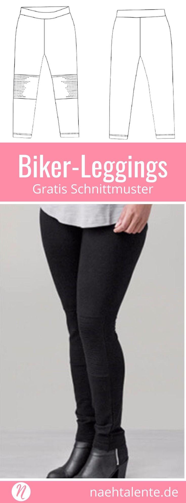 Damen-Leggings im Biker-Stil selber nähen ❤ kostenloses Schnittmuster ❤ Gr....