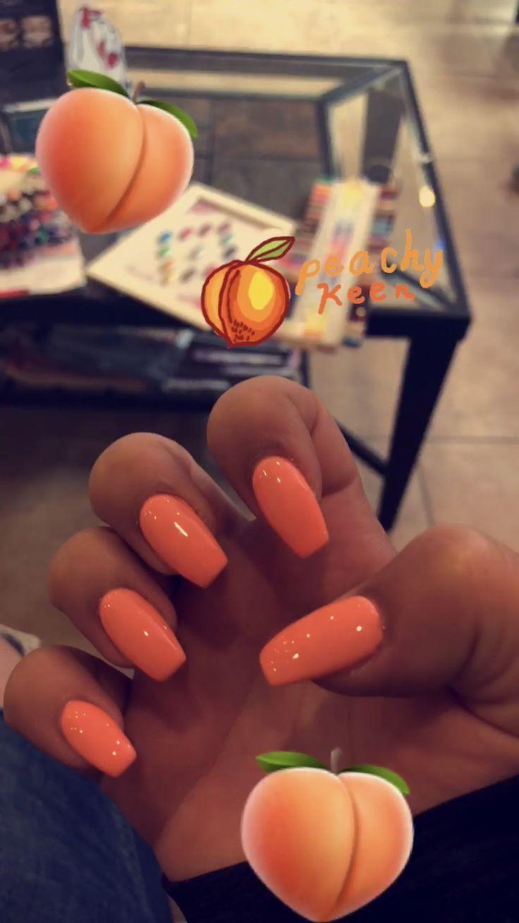 Peach Acrylic Nails Casket # Acrylic Nails # Acrylic Nail # Peach #acrylic #acrylna ...