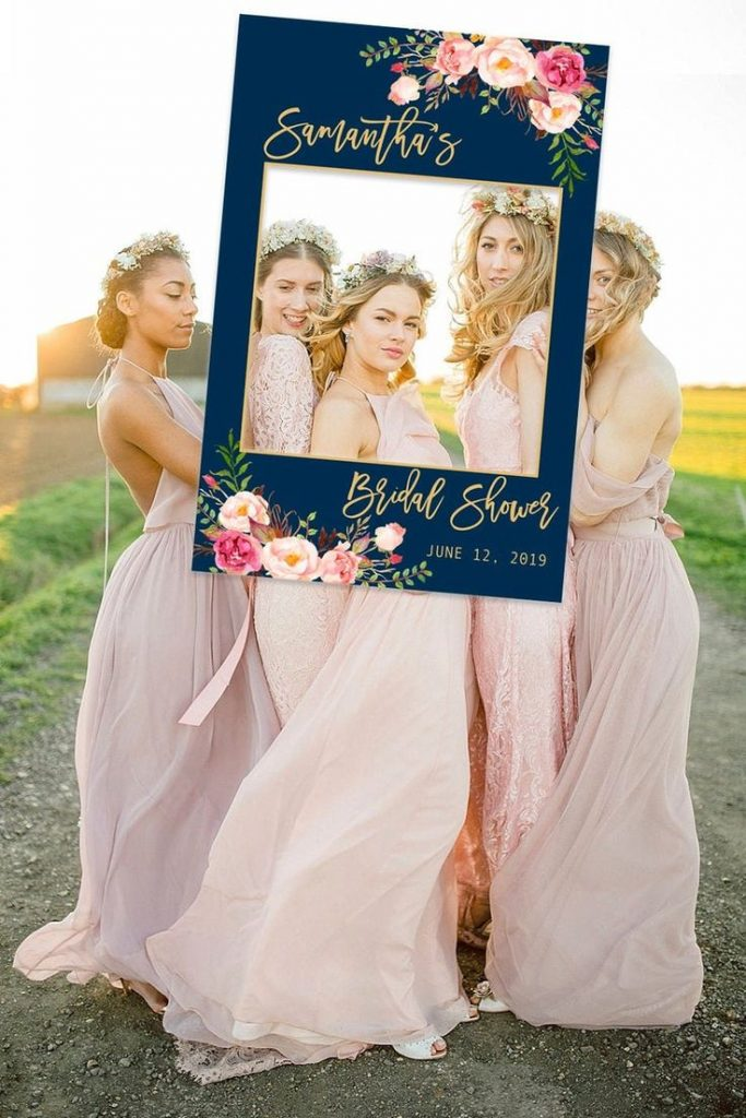 Print your beautiful personalized Bridal Shower Photo Booth frame with blush and...