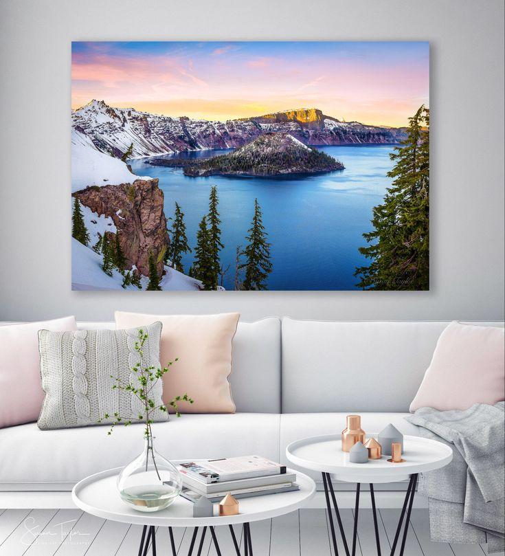 Excited to share! #etsy shop: Oregon Landscape Photo, Crater Lake Sunset, Large ...