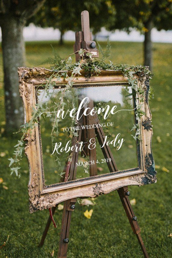 Wedding Welcome Sign / Personalized Couples Names and Dates / Mirror Deco ...