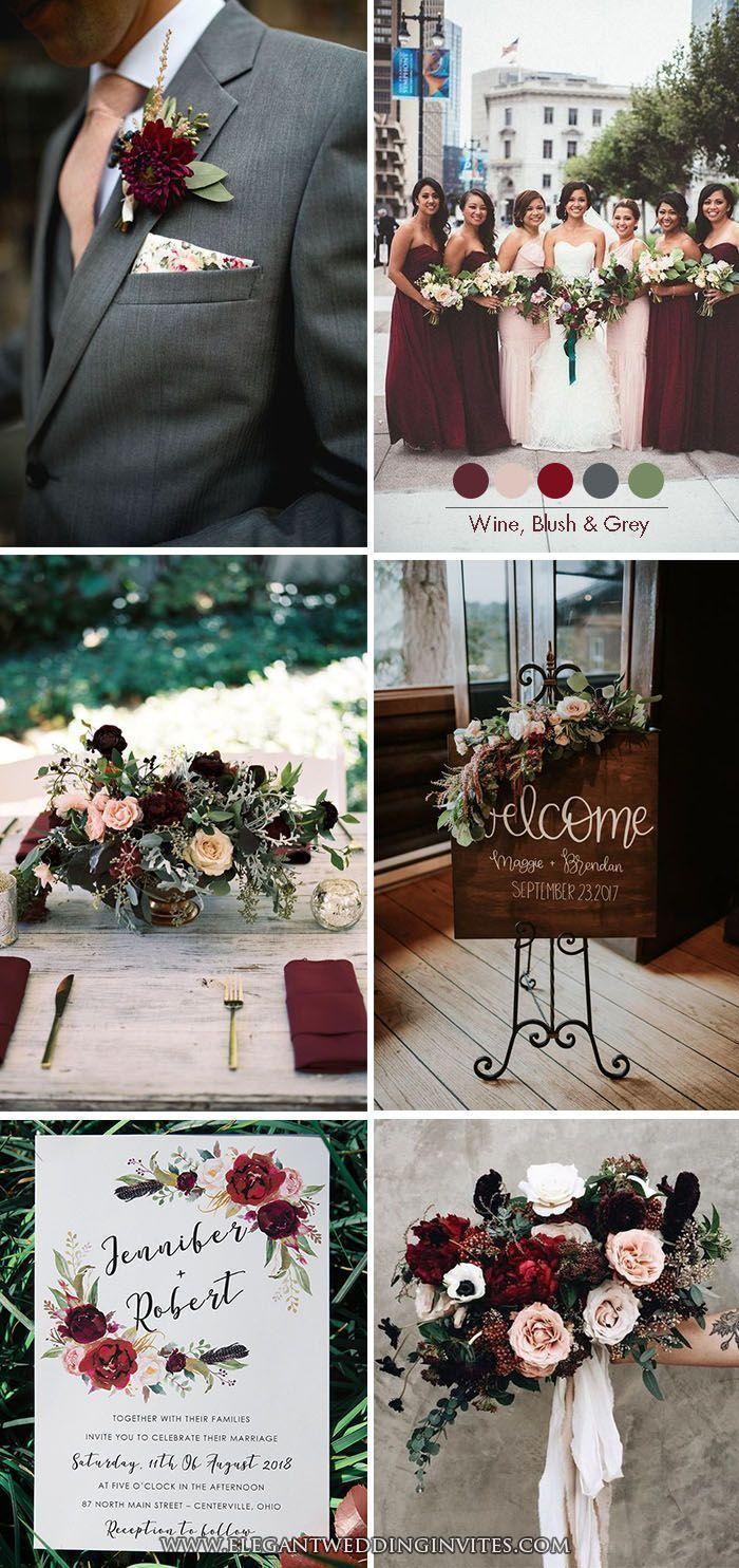Moody Burgundy Wine, Blush und Dark Grey Klassische Hochzeit Farbe Inspiration #...