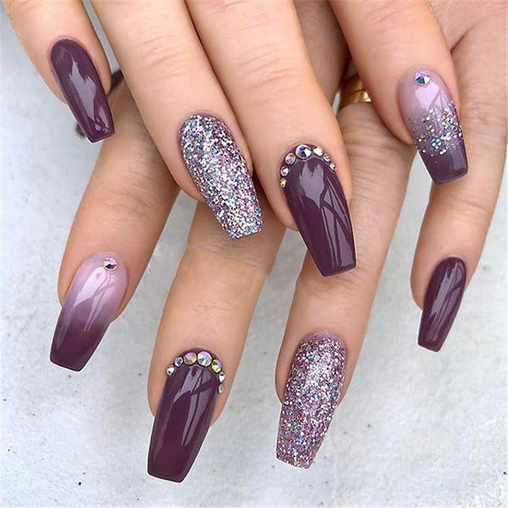 30+ Elegant Purple Glitter Coffin Nails Inspirations +Tips - #coffin #elegant #g...