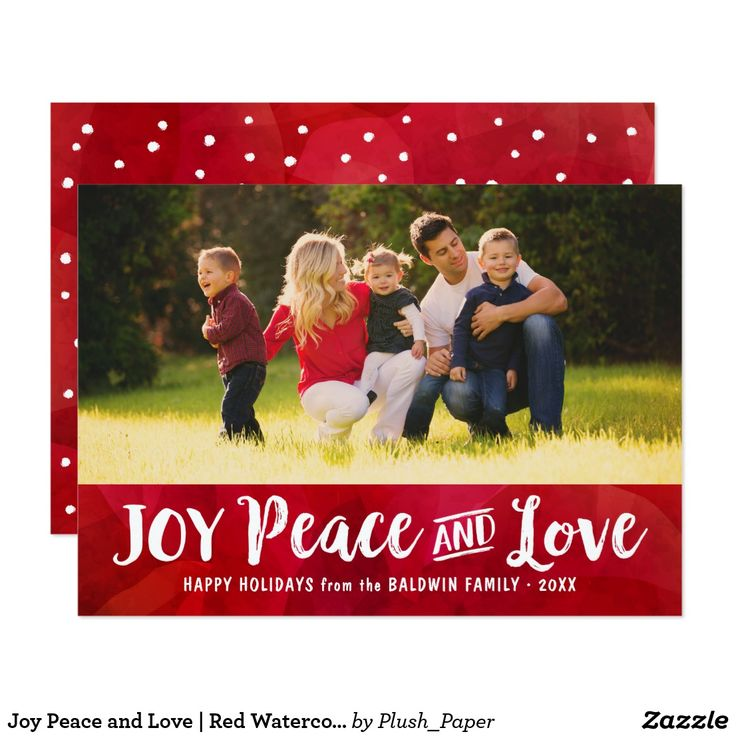 Joy Peace and Love | Red Watercolor Photo Card Horizontal holiday photo card des...