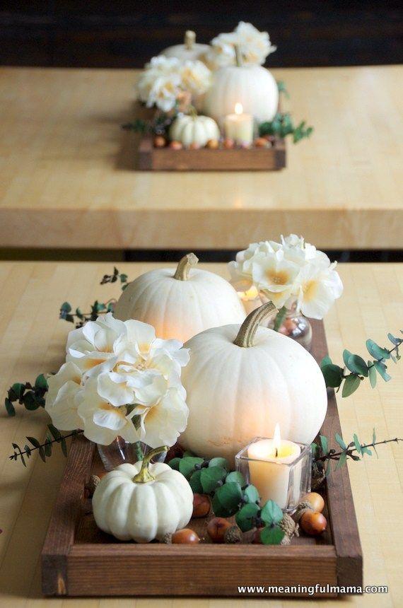 Contemporary Autumn Tower Idea with White Pumpkins # Autumn Kit #Herb ...
