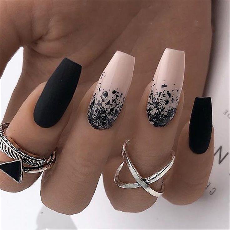 20 Black and White Acrylic Nail Ideas # Acrylic Nail # Ideas # Black ...