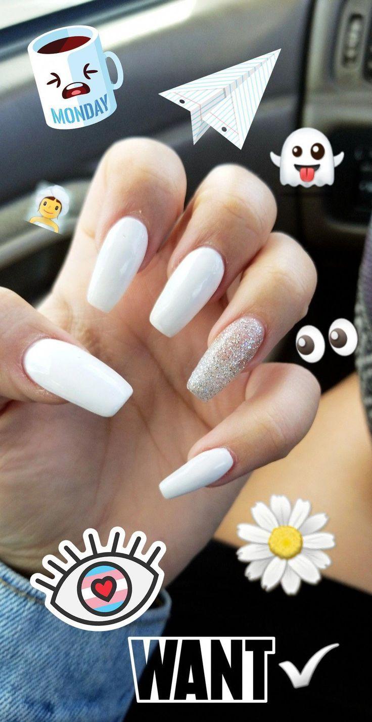 By Jordan Marie ♡♡ Type: Long Acrylic Coffin Nails Color: White Season: Augu ......