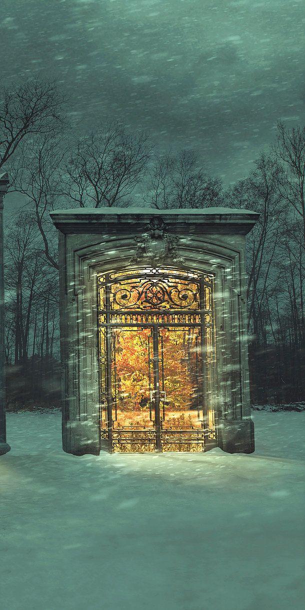 Fine Art Print - Door to Summer (5) - Oversized Wall Art Fantasy Winter Scene Fi...