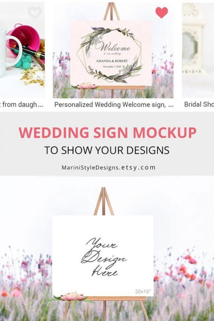 Welcome Wedding Sign Mockup, Horizontal Easel Mockup, Landscape Wedding Sign Sto...
