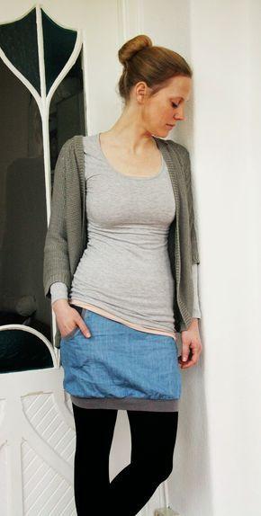 """Balloon skirt made of jeans from """"Lütten und meer"""" ..."""