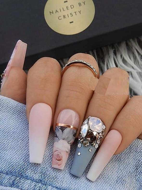 22 French matte ombre, blue-gray and crystals on long coffin nails, #on #blue gray #f ...