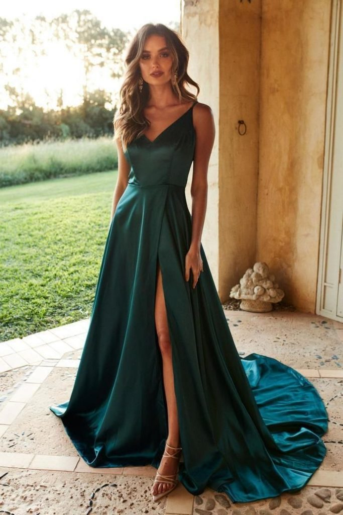 Teal, silk-like, long evening dress with satin v-neckline and ...