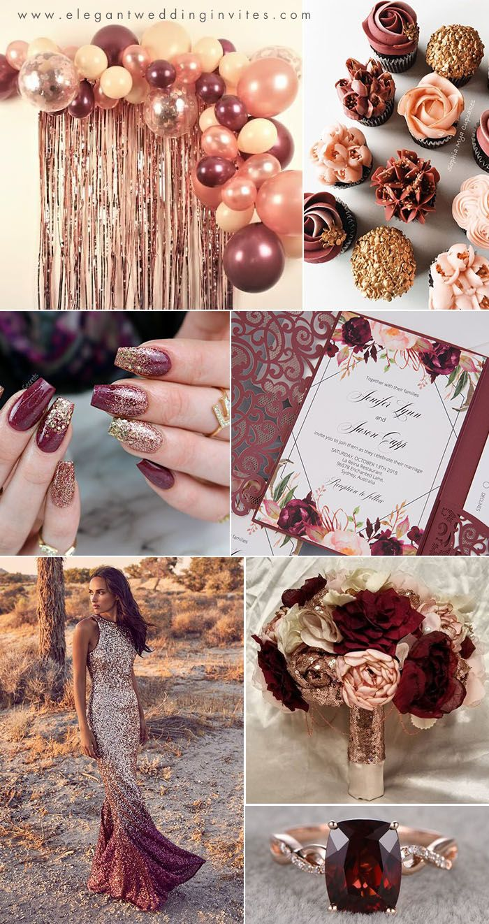 rose gold,blush, burgundy and wine red fall wedding colors...