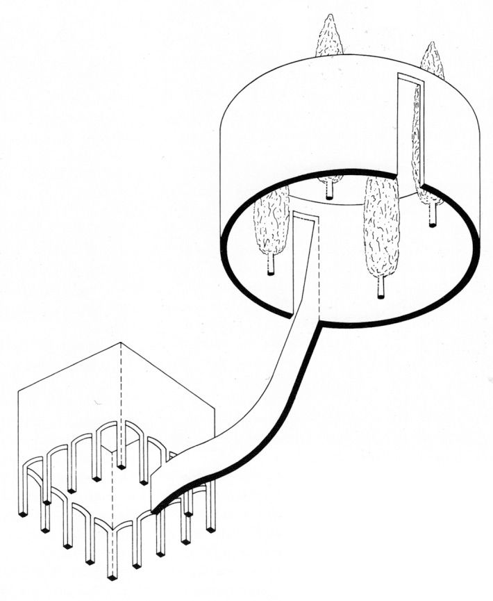 James-Stirling competition concept drawing for a museum for the north Rhine-West...