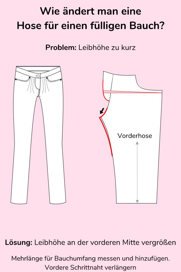 How to change a pair of pants for a big belly? Pattern change for m ...