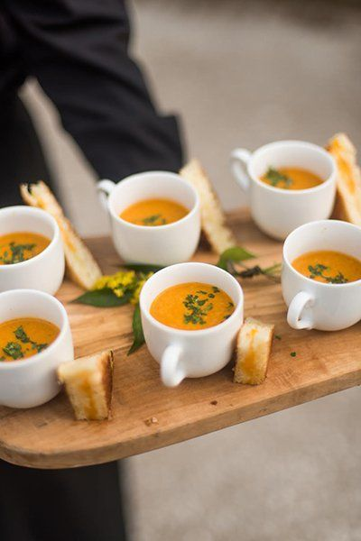 There is no reason you can't serve grilled cheese and tomato soup at your we...