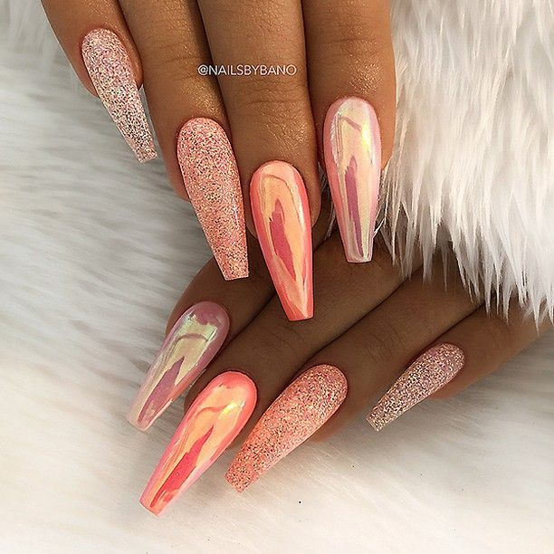 REPOST - - - - Peachy Orange Aurora Effect and Glitter on long Coffin Nails - - ...