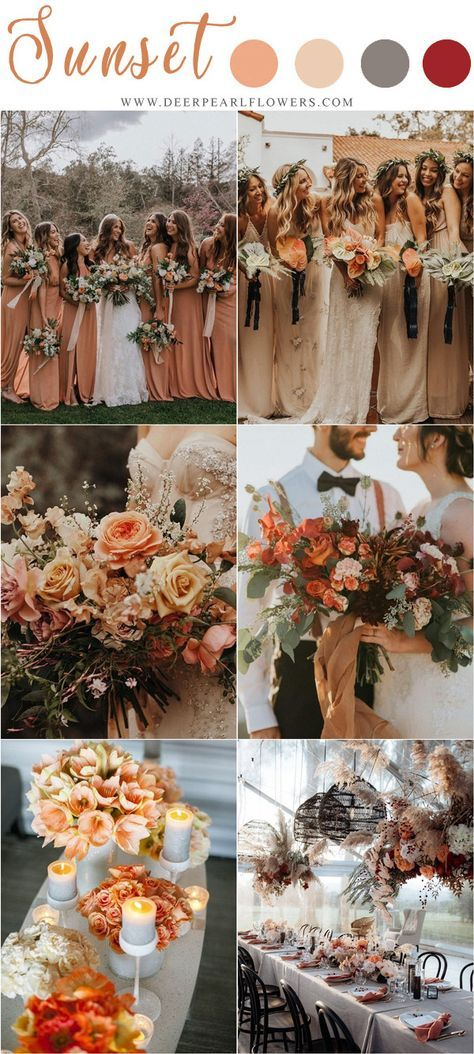 sunset orange fall wedding color ideas #weddings #weddingideas #weddingcolors #f...